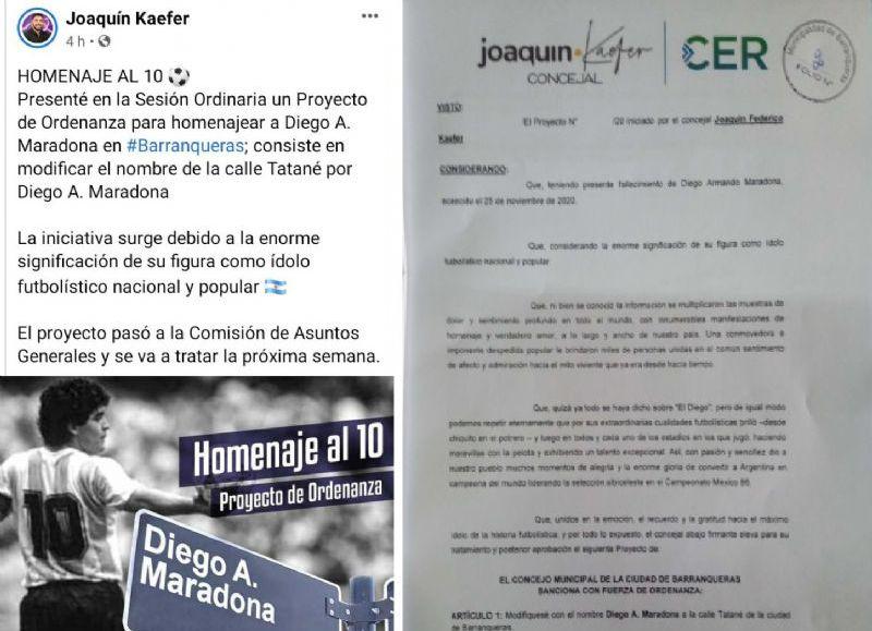 Joaquín Kaefer dice que cambiando el nombre a una calle de Barranqueras contribuirá a la concienciación sobre las adicciones además de homenajear al Diez.